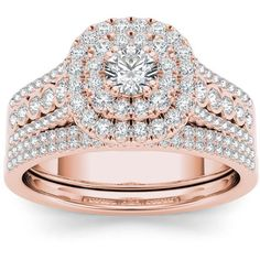 De Couer 10k Rose Gold 1ct TDW Diamond Double Halo Engagement Ring Set... ($1,062) ❤ liked on Polyvore featuring jewelry, rings, pink, wide-band rings, rose engagement ring, engagement rings, pink engagement rings and pink gold engagement rings