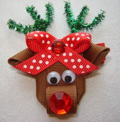 Girls Holiday Rudolph Reindeer 3D Ribbon Sculpture by bowtowne