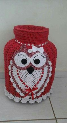 Kitchen Bags Holder Pig pattern by Yana Muradian Crochet Kitchen, Crochet Home, Free Crochet, Crochet Applique Patterns Free, Hat Patterns, Crochet Owls, Crochet Videos, Crochet Projects, Crochet Motif