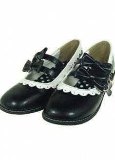 Black Decoration Bow PU Flat Lolita Shoes