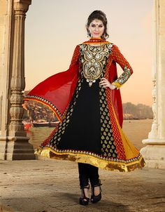 Alluring Black & Crimson Salwar Kameez | StylishKart.com
