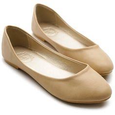 Ollio Women's Shoe Ballet Basic Light Comfort Low Heel Flat ($16) ❤ liked on Polyvore