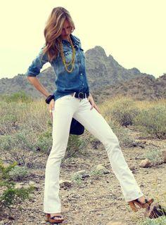 White jeans + Denim shirt