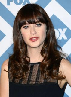 For Zooey Deschanel's famous blunt bangs, Scuoppo says to tell your stylist to cut the bangs straight across so they lie atop your forehead. #Haircuts #Hair