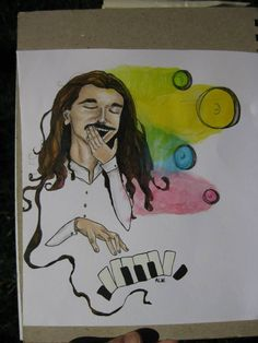 Yawni.  Play on Yanni; collaboration idea with my fiance Nick.  Colored pencil and liquid acrylics on mixed media paper