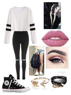 """""""Untitled #49"""" by maeve-nelsen on Polyvore featuring Topshop, Converse, Identity, Lime Crime, EF Collection and ASOS"""
