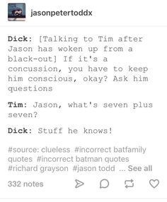 Dick/Dani Tim/Milo about Jason/Ben