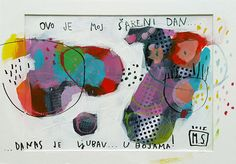 """Paper Art Print - """"This is my colorful day"""" expressionist print archival Fine Art Giclee Print 8x10 or 11x14 Mirna Sisul"""