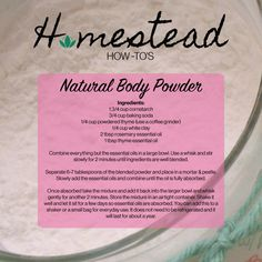 Homemade, natural body powder. Long shelf-life!
