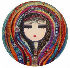 suatnarin pictorial: Canan Berber, msü Canvas Painting Landscape, Abstract Watercolor Art, Gold Leaf Art, Gold Art, Turkish Art, Large Canvas Art, Mandala, Painting Patterns, Portrait Art