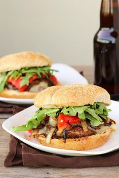 Portabella Mushroom Burgers with Provolone, Caramelized Onions, & Roasted Red Peppers [Once Upon A Cutting Board]