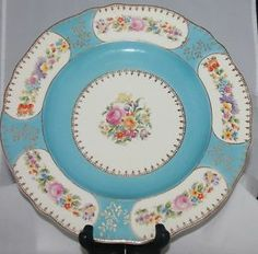 Vintage Steubenville China Ivory Dinner Serving Plate Robin Egg Blue Floral from my collection