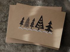 Could use a large eraser to create tree stamps and diy Diy Christmas Cards, Holiday Cards, Christmas Crafts, Xmas, Card Making Inspiration, Card Maker, Greeting Cards Handmade, Diy Cards, Paper Crafts