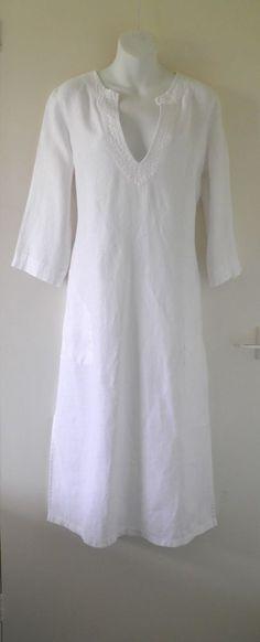 THE WHITE COMPANY Long Kaftan Smock Summer Holiday Beach Cover Up Dress M 12 14  44.90