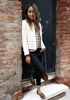 Tweed Jacket + Stripes Shirt + Skinny Jeans + Leopard Print Loafers