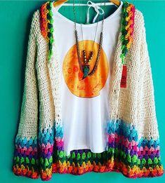 Below the knee would be perfect Crochet Coat, Crochet Jacket, Crochet Cardigan, Crochet Clothes, Diy Clothes, Hippie Style, Hippie Boho, Mode Crochet, Beautiful Crochet