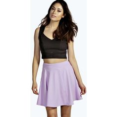Boohoo Roseanna Flippy Style Skater Skirt ($8) ❤ liked on Polyvore featuring skirts, lilac, pleated skater skirt, purple pleated skirt, flared midi skirt, mid-calf skirt and pleated skirt