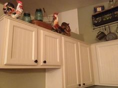 DIY Projects For The Home Country Kitchen Cabinet Makeover With Beadboard Wallpaper (Tutorial Includ Kitchen Redo, Kitchen Remodel, Kitchen Design, Kitchen Cabinets, Farmhouse Cabinets, Basement Kitchen, Kitchen Island, Kitchen Ideas, Home Upgrades