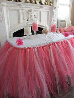 Coral & Mint Custom Tutu Table Skirt by PinkSugarTutus on Etsy, $70.00
