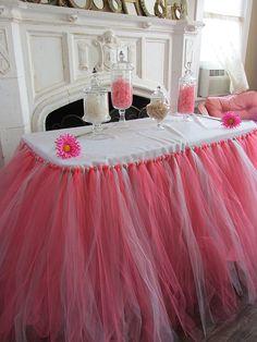 Coral & Mint Custom Tutu Table Skirt by PinkSugarTutus on Etsy, $70.00