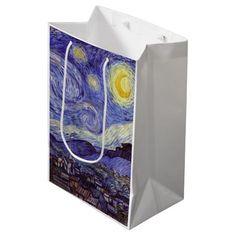 Vincent Van Gogh Starry Night Vintage Fine Art Medium Gift Bag