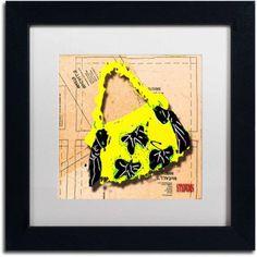 Trademark Fine Art Bow Purse Black on Yellow Canvas Art by Roderick Stevens, White Matte, Black Frame, Archival Paper, Size: 16 x 16