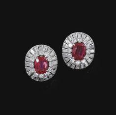 Pair of ruby and diamond ear clips, Van Cleef & Arpels