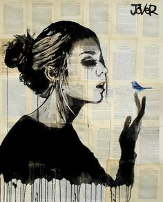 "Saatchi Art Artist: Loui Jover; Pen and Ink 2013 Drawing ""blue bird"". By far one of my favorite artists."