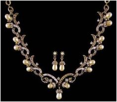 """Signature Victorian Collection....known for its international taste and appeal!    """"Gaelle""""...only $2,900 or P127,600!! Victorian Inspired 4.83ct Diamond & Pearl Necklace Set! Imported, world-class quality, not pre-owned, not pawned, not stolen. We deliver worldwide <3"""