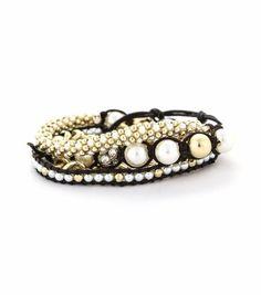 Pearl/Gold Wrap Bracelet