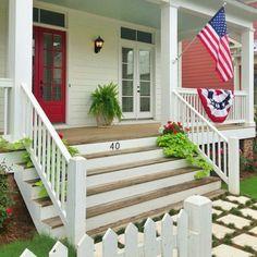 farmhouse front steps | Big wide front porch steps | Dream Home