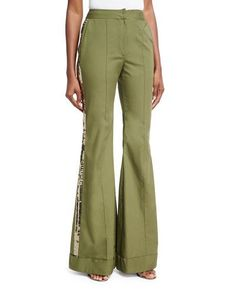 Johanna Ortiz Embera Sequined-Stripe Flared Pants, Olive. www.italianist.com