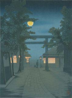 KIYOCHIKA Japanese Woodblock Print SHRINE VISIT AT NIGHT 1930s #ShimaArtCo