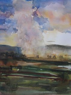 Roy Stockwell Contemporary Watercolour Grazing Cattle In A Winter Landscape