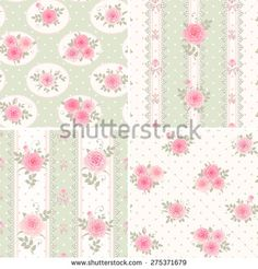 Shabby Chic Wallpaper Border | ... borders. Set of shabby chic style patterns with pink roses. #275371679