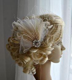 Bridal Veil and fascinator Downton Abbey 1920's by BlueSkyHorizons