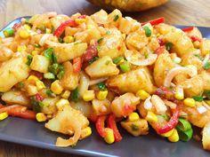 Türkischer Kartoffelsalat mit Mais Paprika und Kidneybohnen