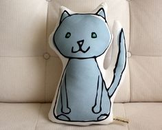 Kitty Pillow by LittleKorboose on Etsy, $20.00