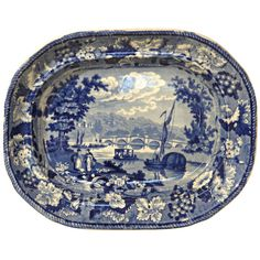 Medium sized platter in medium blue & white Staffordshire  transfer ware ca. 1840. The subject is the bridge over the Themes River between Middlesex & Surry. It is the oldest surviving bridge in the London area. The bridge was built 1774-1777 replacing a ferry crossing in use as far back as 1439. The view is the subject of many paintings by such artists as John Constable, JMW Turner & Charles Codman. United Kingdom, circa 1840 -  Paul Kleinwald Art & Antiques Inc., Great Barrington, MA