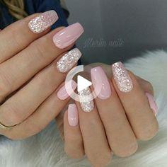 Blush Pink Nails, Pink Gel Nails, Cute Pink Nails, Pink Nail Art, Cute Acrylic Nails, Glitter Nail Art, Green Nails, Acrylic Nail Designs, Nail Art Designs