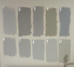 """Benjamin Moore gray swatches, posted by Emily from the """"Name 5 Things"""" blog for a home office test is a great way to see undertones in ten different gray hues. Emily's choices are: 1.Metro Gray, 2.Stormy Monday, 3.Silver Dollar, 4.Silver Fox, 5.Pigeon Gray, 6.Silver Chain, 7.Smoke Embers, 8.Stonington Gray, 9.Nimbus, 10.Revere Pewter."""