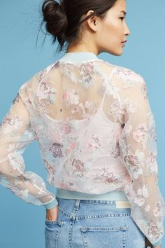Slide View: 2: Textured Floral Bomber