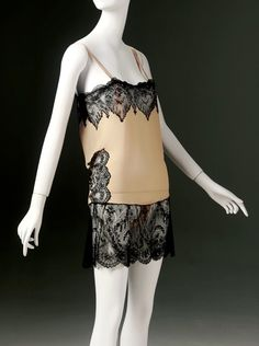 Silk charmeuse teddy with black cotton lace trim, American, 1920s.