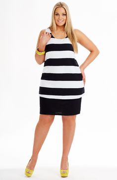 Striped overlay dress black/white Style No: D2173 Viscose Elastane swing layer dress. Knee length striped singlet dress. his dress has 2 attached layers.. The underskirt is fitted and the fabric on the striped over layer is bonded .  #plussize #dreamdiva