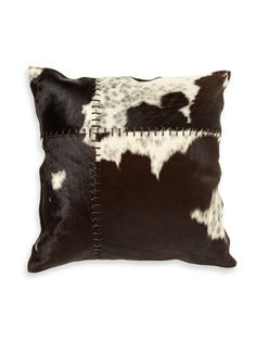 Cow Hair-On Hide Jersey Pillow by Thro by Marlo Lorenz on Gilt Home Fur Pillow, Leather Pillow, Bed Pillows, Cow Skin, Cow Hide, Designer Pillow, Soft Furnishings, Leather Craft, Home Crafts