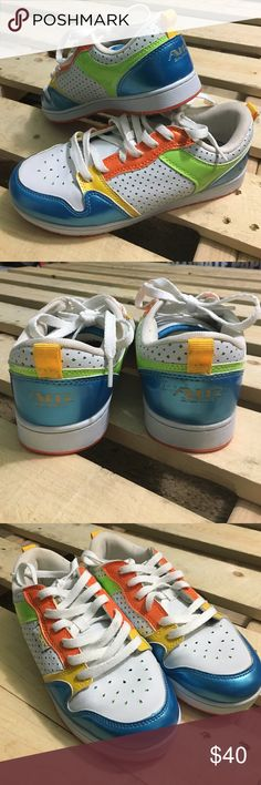 Size 7 Air Balance Women's sneakers Only wore once, excellent condition. Multi colored to stand out in the crowd. Air Balance Shoes Sneakers