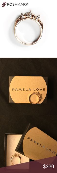 Pamela Love Pave Thin Tribal Spike Ring Sz. 5 Super cute & unique! Rose gold plated .925 sterling silver with white topaz stones on both sides of the spikes. Size 5. Only worn once. Stamped with PL logo and 925 for sterling silver.  Comes with the Pamela Love box I received it in. Pamela Love Jewelry Rings
