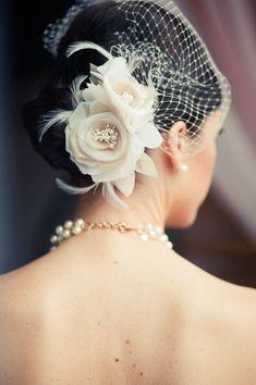 Birdcage Veil + Hairpiece. Re-pin if you like. Via Inweddingdress.com #hairstyles