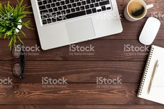 workspace wood table on top view royalty-free stock photo