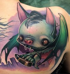 Lovely new school bat by Kelly Doty - 18 BADASS AND ADORABLE BAT TATTOOS via Tattoodo blog